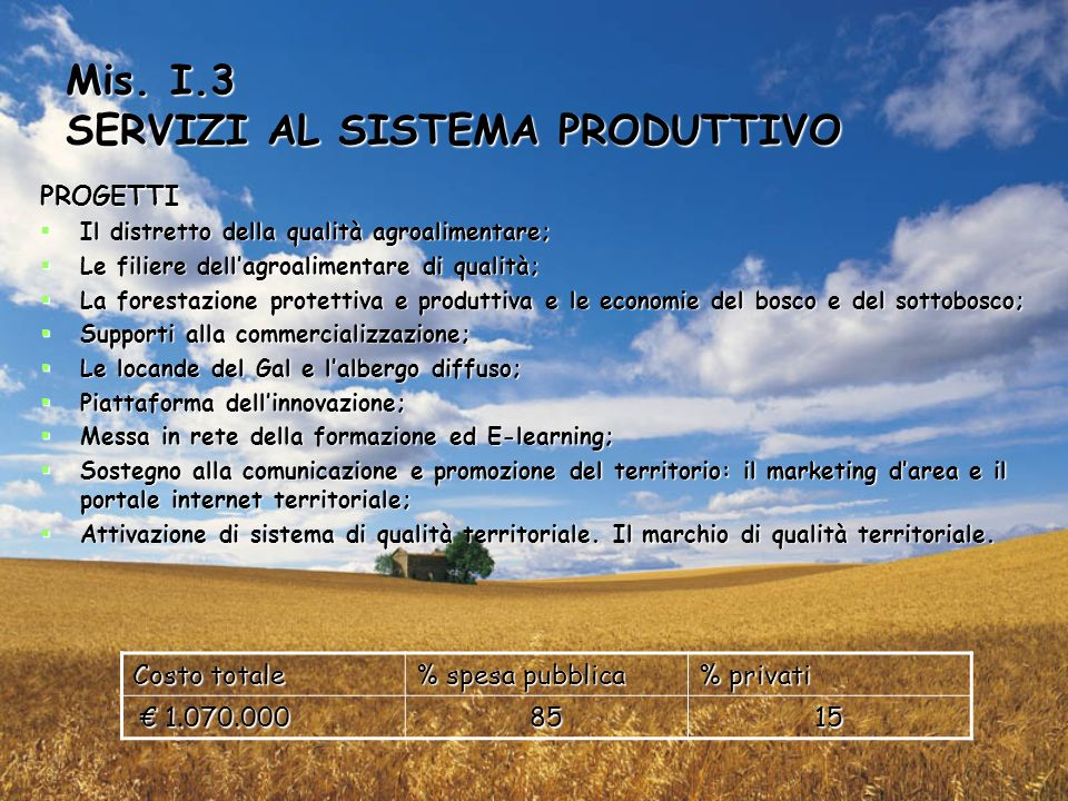 Mis. I.3 SERVIZI AL SISTEMA PRODUTTIVO PROGETTI Il distretto della qualità agroalimentare; Il distretto della qualità agroalimentare; Le filiere della