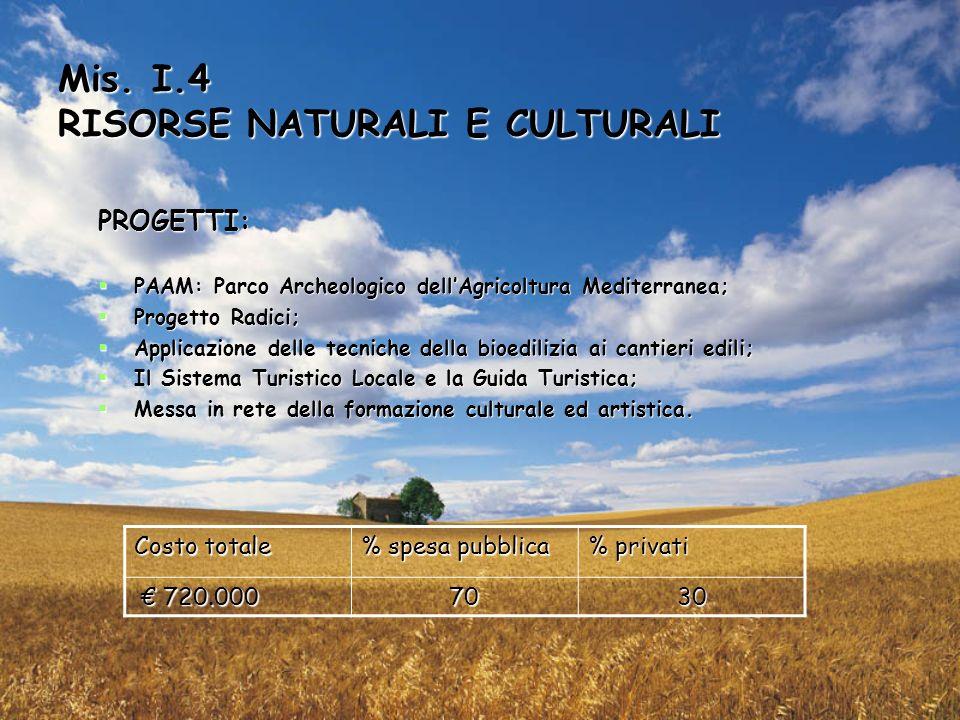 Mis. I.4 RISORSE NATURALI E CULTURALI PROGETTI: PAAM: Parco Archeologico dellAgricoltura Mediterranea; PAAM: Parco Archeologico dellAgricoltura Medite