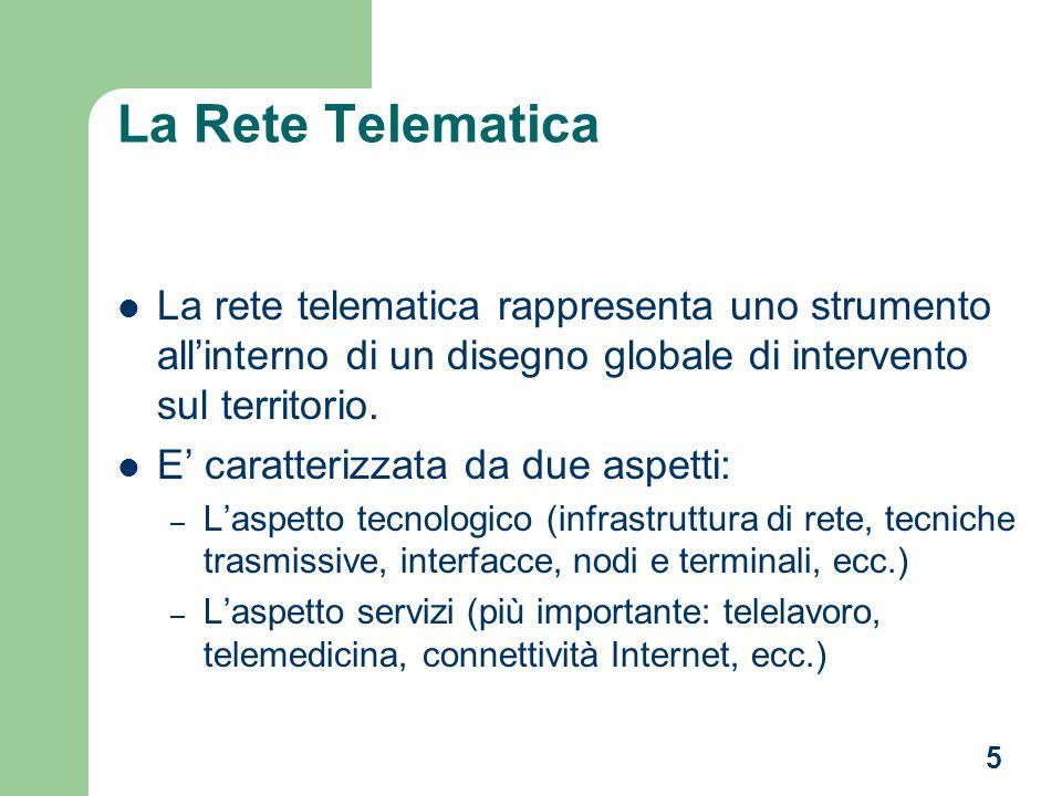 5 La Rete Telematica La rete telematica rappresenta uno strumento allinterno di un disegno globale di intervento sul territorio.