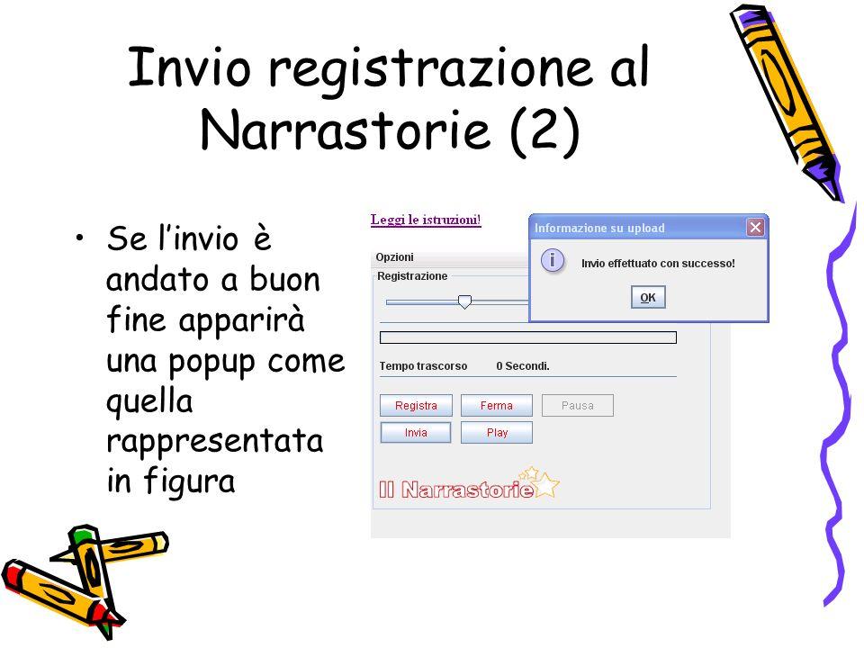 Invio registrazione al Narrastorie (2) Se linvio è andato a buon fine apparirà una popup come quella rappresentata in figura