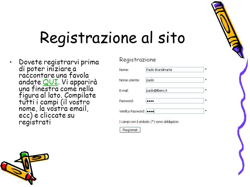 Registrazione al sito Dovete registrarvi prima di poter iniziare a raccontare una favola andate QUI.