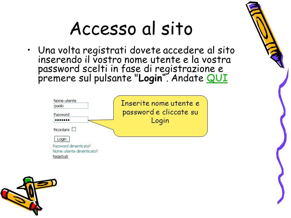 Accesso al sito Una volta registrati dovete accedere al sito inserendo il vostro nome utente e la vostra password scelti in fase di registrazione e pr