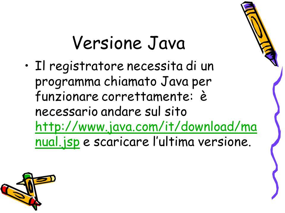 Versione Java Il registratore necessita di un programma chiamato Java per funzionare correttamente: è necessario andare sul sito http://www.java.com/it/download/ma nual.jsp e scaricare lultima versione.