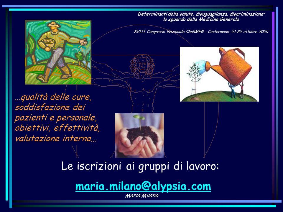 Maria Milano …qualità delle cure, soddisfazione dei pazienti e personale, obiettivi, effettività, valutazione interna… Le iscrizioni ai gruppi di lavo