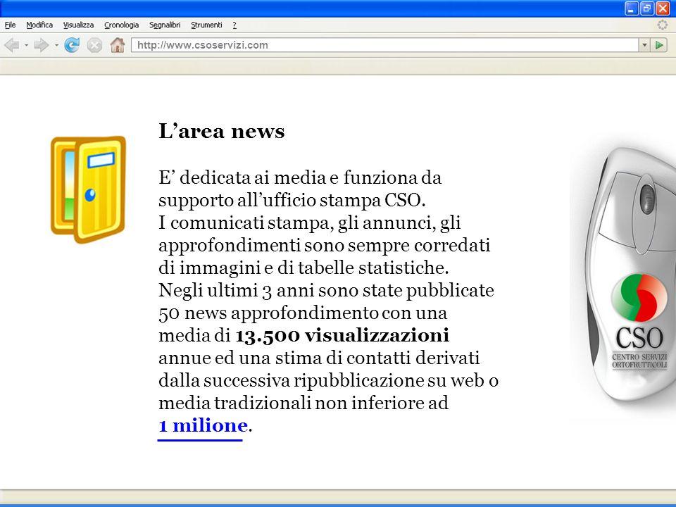 Larea news E dedicata ai media e funziona da supporto allufficio stampa CSO.