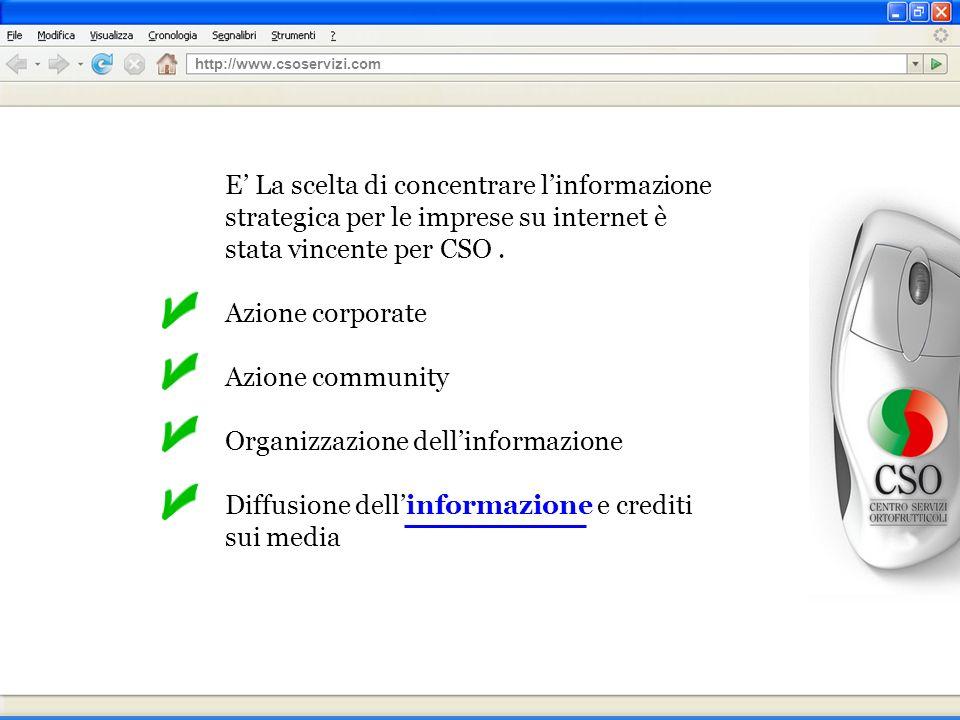 E La scelta di concentrare linformazione strategica per le imprese su internet è stata vincente per CSO.