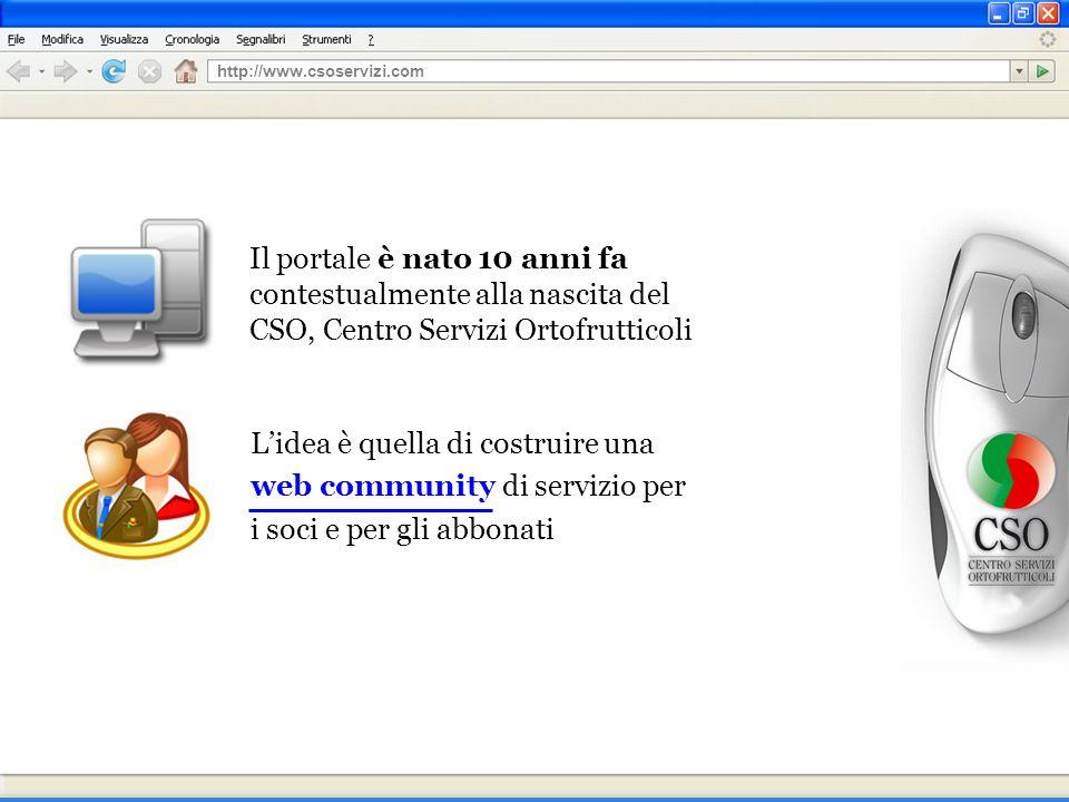 Il portale è nato 10 anni fa contestualmente alla nascita del CSO, Centro Servizi Ortofrutticoli Lidea è quella di costruire una web community di servizio per i soci e per gli abbonati http://www.csoservizi.com