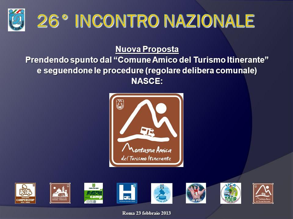 Nuova Proposta Prendendo spunto dal Comune Amico del Turismo Itinerante e seguendone le procedure (regolare delibera comunale) NASCE: Roma 23 febbraio 2013