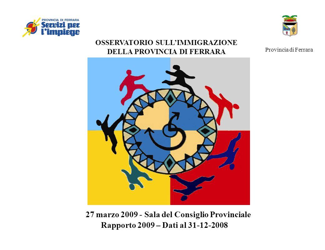 OSSERVATORIO SULLIMMIGRAZIONE DELLA PROVINCIA DI FERRARA Rapporto 2009 – Dati al 31-12-2008 27 marzo 2009 - Sala del Consiglio Provinciale Provincia d