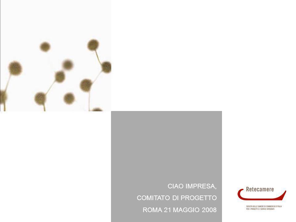 CIAO IMPRESA 22 COMITATO DI PROGETTO, ROMA 21 MAGGIO 2008 Workshop di approfondimento Workshop periodici dove, a focus di approfondimento su tematiche di interesse generale nellambito della comunicazione e delle nuove tecnologie, si alternano momenti di discussione su proposte progettuali e implementative, sulle necessità e sulle problematiche delle diverse realtà camerali, al fine di: rendere maggiormente operativo il network Ciao Impresa (dato il notevole numero di Camere aderenti tali momenti potrebbero divenire anche la sede di discussione per la programmazione di implementazioni e sviluppi della piattaforma); migliorare e semplificare le funzionalità della piattaforma di CRM secondo le esigenze dei principali utilizzatori e in linea con la crescita e lo sviluppo di questi sistemi; inserire le sessioni formative sulle modalità di utilizzo della piattaforma di CRM, in un contesto di più ampio respiro, sensibilizzando le Camere sulle strategie di sistema.