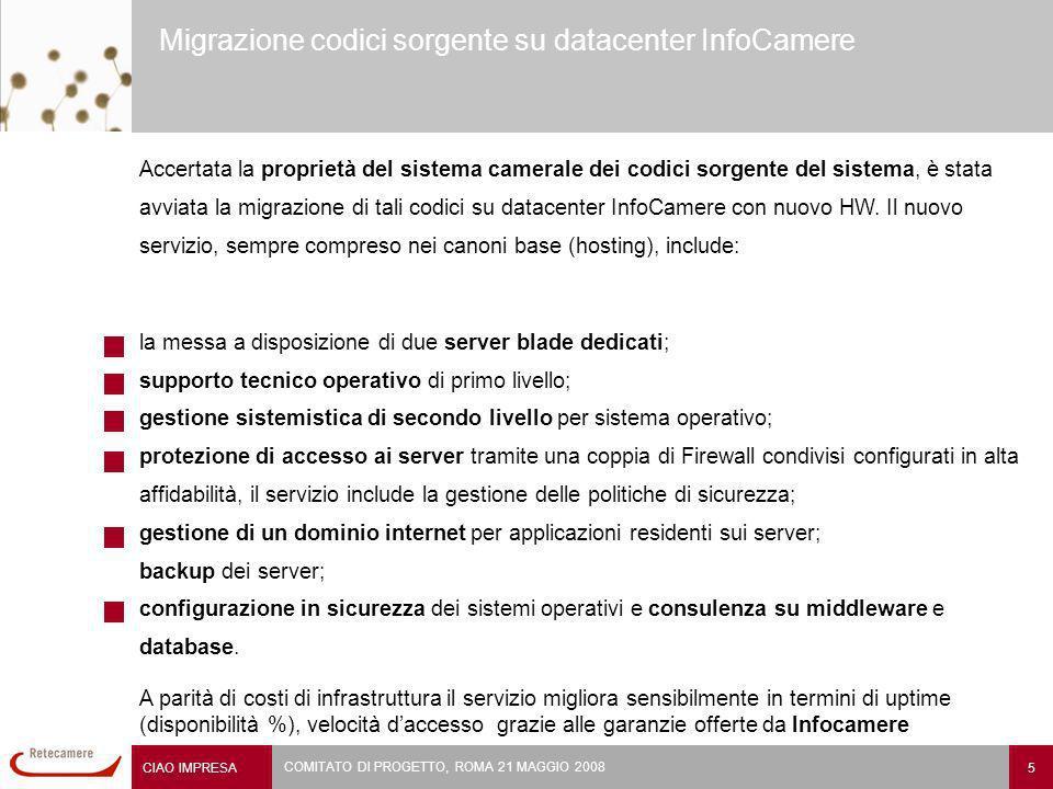 CIAO IMPRESA 5 COMITATO DI PROGETTO, ROMA 21 MAGGIO 2008 Migrazione codici sorgente su datacenter InfoCamere Accertata la proprietà del sistema camerale dei codici sorgente del sistema, è stata avviata la migrazione di tali codici su datacenter InfoCamere con nuovo HW.