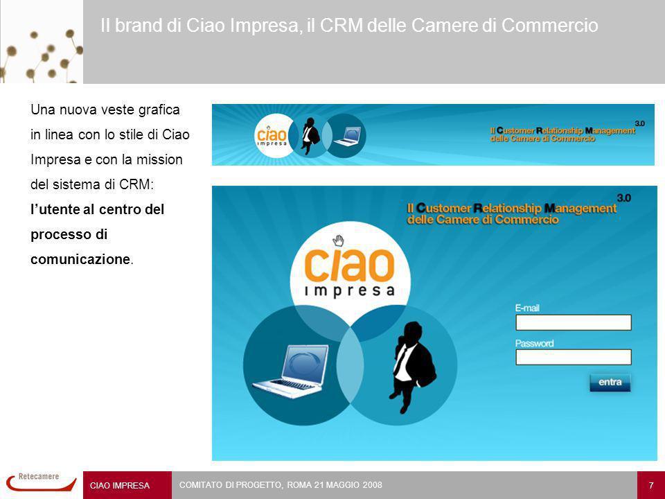 CIAO IMPRESA 7 COMITATO DI PROGETTO, ROMA 21 MAGGIO 2008 Il brand di Ciao Impresa, il CRM delle Camere di Commercio Una nuova veste grafica in linea con lo stile di Ciao Impresa e con la mission del sistema di CRM: lutente al centro del processo di comunicazione.
