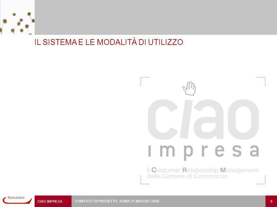 CIAO IMPRESA 9 COMITATO DI PROGETTO, ROMA 21 MAGGIO 2008 IL SISTEMA E LE MODALITÀ DI UTILIZZO
