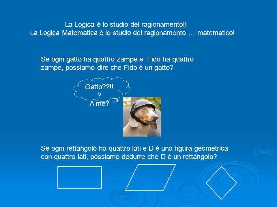 La Logica Matematica è lo studio del ragionamento … matematico! Se ogni gatto ha quattro zampe e Fido ha quattro zampe, possiamo dire che Fido è un ga