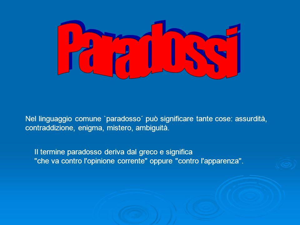 Nel linguaggio comune `paradosso´ può significare tante cose: assurdità, contraddizione, enigma, mistero, ambiguità.