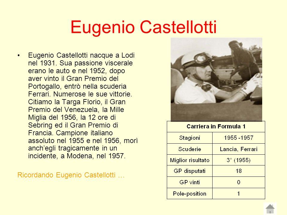 Eugenio Castellotti Eugenio Castellotti nacque a Lodi nel 1931. Sua passione viscerale erano le auto e nel 1952, dopo aver vinto il Gran Premio del Po