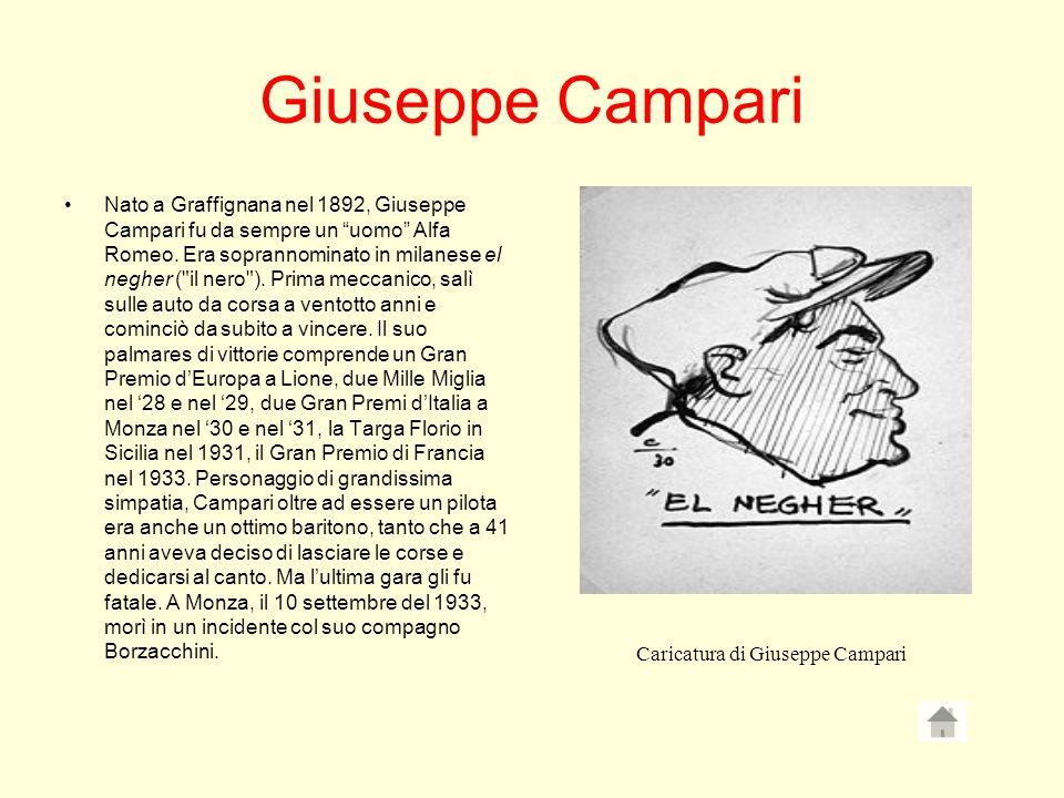 Giuseppe Campari Nato a Graffignana nel 1892, Giuseppe Campari fu da sempre un uomo Alfa Romeo. Era soprannominato in milanese el negher (