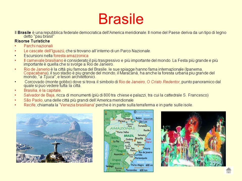 Brasile Il Brasile è una repubblica federale democratica dell'America meridionale. Il nome del Paese deriva da un tipo di legno detto