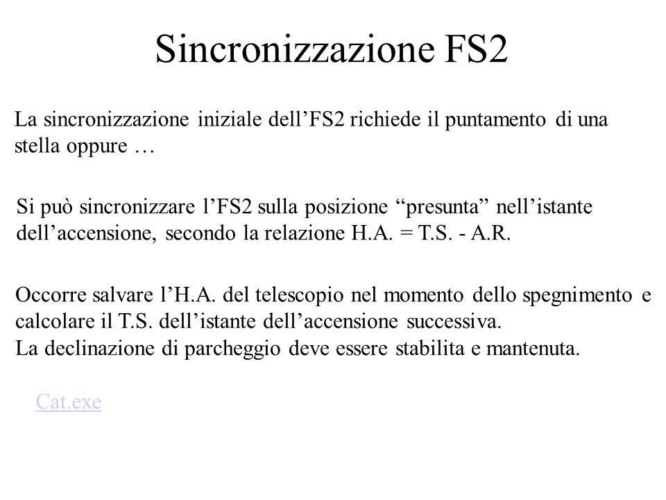 Sincronizzazione FS2 La sincronizzazione iniziale dellFS2 richiede il puntamento di una stella oppure … Si può sincronizzare lFS2 sulla posizione presunta nellistante dellaccensione, secondo la relazione H.A.