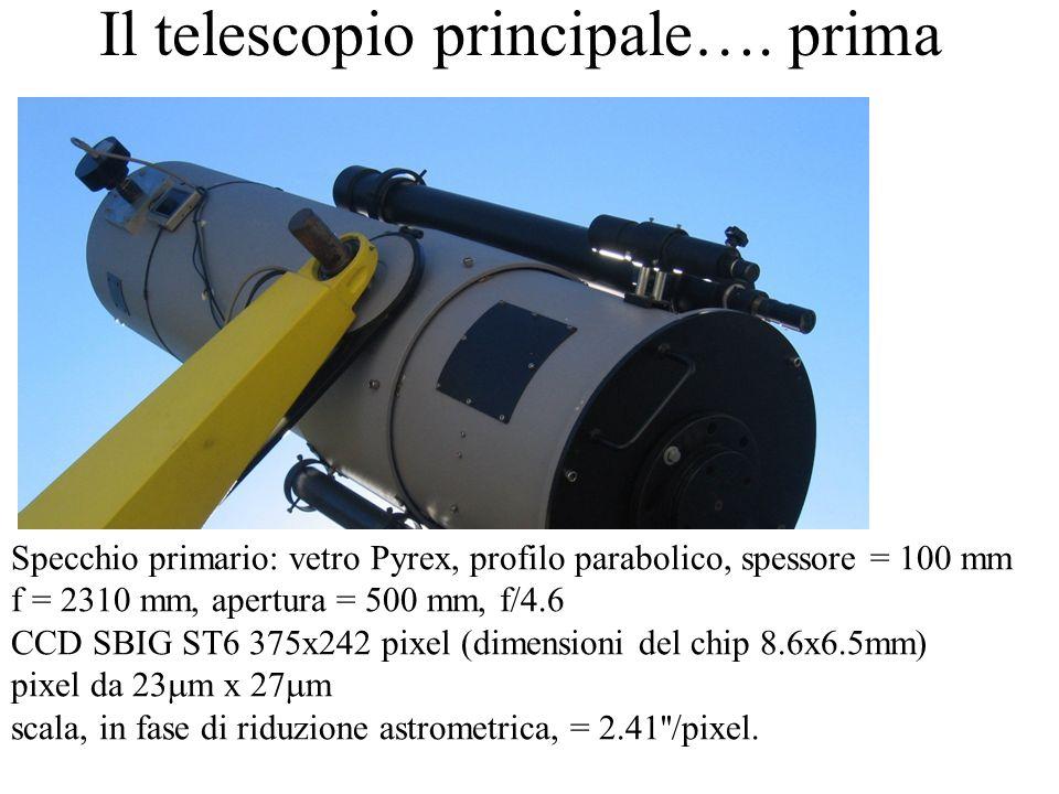 Il telescopio principale…. prima Specchio primario: vetro Pyrex, profilo parabolico, spessore = 100 mm f = 2310 mm, apertura = 500 mm, f/4.6 CCD SBIG