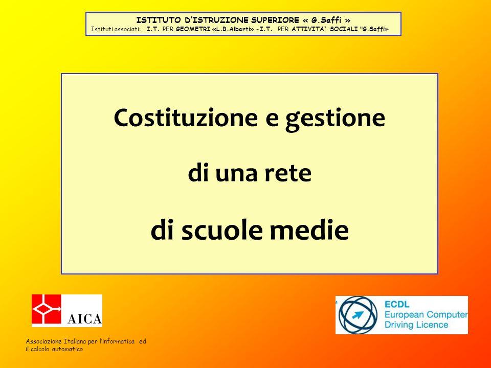 Costituzione e gestione di una rete di scuole medie Associazione Italiana per linformatica ed il calcolo automatico ISTITUTO DISTRUZIONE SUPERIORE « G