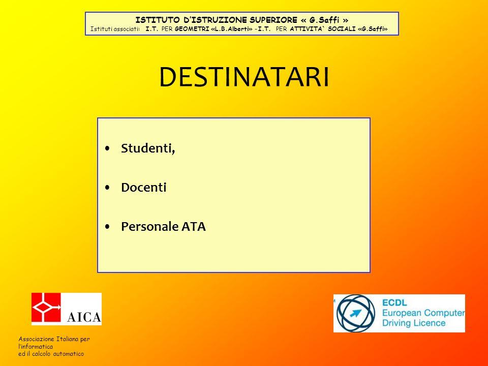 DESTINATARI Studenti, Docenti Personale ATA Associazione Italiana per linformatica ed il calcolo automatico ISTITUTO DISTRUZIONE SUPERIORE « G.Saffi »