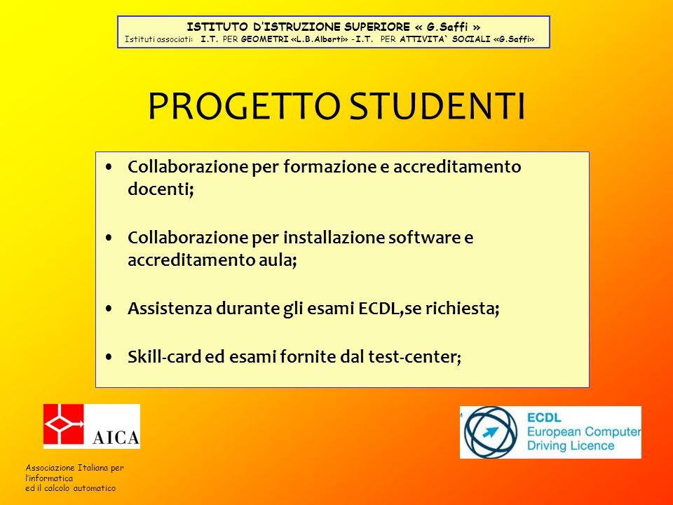 PROGETTO STUDENTI Collaborazione per formazione e accreditamento docenti; Collaborazione per installazione software e accreditamento aula; Assistenza