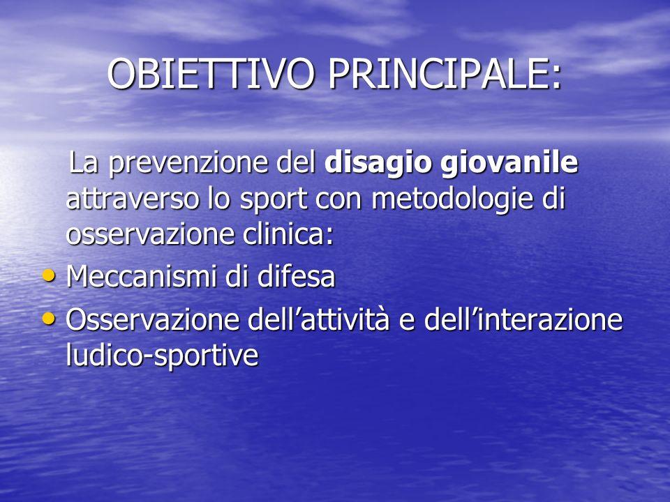 OBIETTIVI SPECIFICI: Sviluppo della ricerca e dellelaborazione di Progetti ad hoc Sviluppo della ricerca e dellelaborazione di Progetti ad hoc Sviluppo di una cultura clinica di prevenzione, attraverso lo sport stesso Sviluppo di una cultura clinica di prevenzione, attraverso lo sport stesso