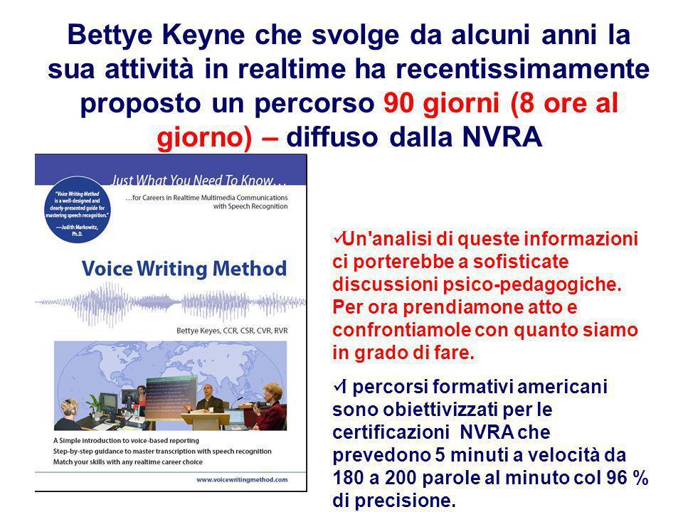 Bettye Keyne che svolge da alcuni anni la sua attività in realtime ha recentissimamente proposto un percorso 90 giorni (8 ore al giorno) – diffuso dalla NVRA Un analisi di queste informazioni ci porterebbe a sofisticate discussioni psico-pedagogiche.
