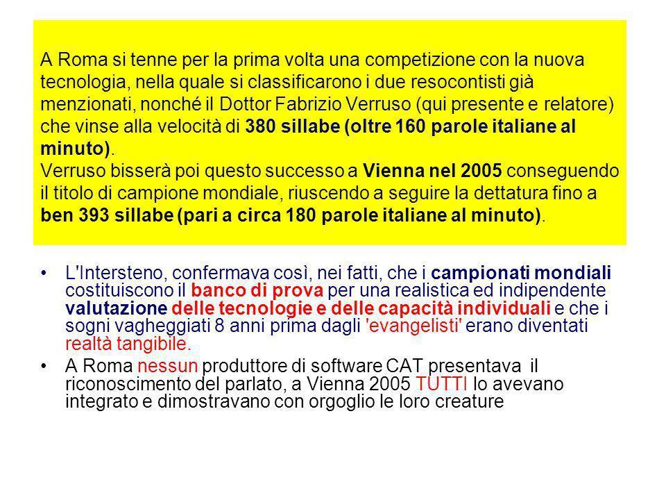 A Roma si tenne per la prima volta una competizione con la nuova tecnologia, nella quale si classificarono i due resocontisti già menzionati, nonché il Dottor Fabrizio Verruso (qui presente e relatore) che vinse alla velocità di 380 sillabe (oltre 160 parole italiane al minuto).
