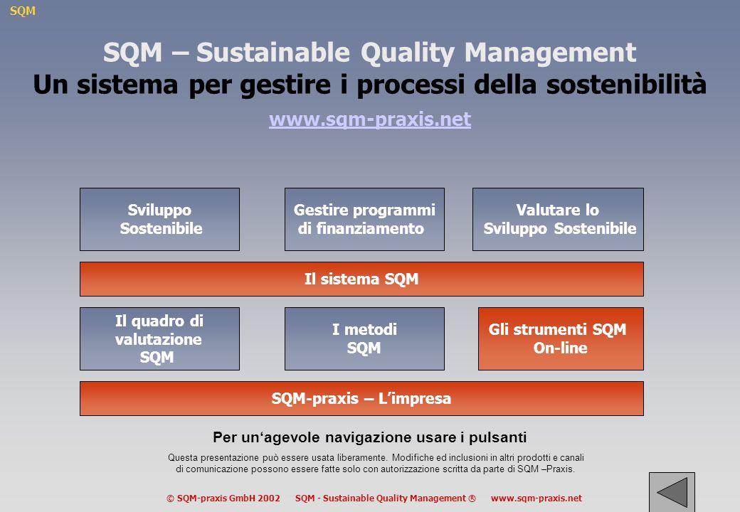 SQM © SQM-praxis GmbH 2002 SQM - Sustainable Quality Management ® www.sqm-praxis.net Complessità variabile del quadro di riferimento analitico OrientamentoPotenziale Sociale Dinamica Aminimum B C Dcompleto Edipende dalle situazioni -La complessità del quadro di analisi deve essere adattata ai gruppi che lo usano -La complessità può essere aumentata passo dopo passo durante il processo -I primi tre elementi possono essere usati per sviluppare un ampio dibattito pubblico