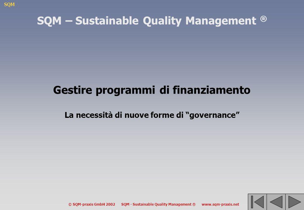 SQM © SQM-praxis GmbH 2002 SQM - Sustainable Quality Management ® www.sqm-praxis.net SQM – Sustainable Quality Management ® Gestire programmi di finanziamento La necessità di nuove forme di governance