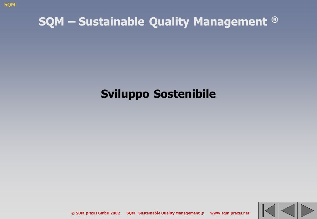SQM © SQM-praxis GmbH 2002 SQM - Sustainable Quality Management ® www.sqm-praxis.net –Obiettivi trasparenti facilitano la cooperazione –Senza chiari obiettivi, qualsiasi valutazione è imprecisa –Una coerente sequenza di obiettivi permette di identificare chiaramente i ruoli e le responsabilità dei diversi livelli amministrativi –Obiettivi chiari e coerenti stimolano la cultura della responsabilità, la creatività e lauto-governo a tutti i livelli EUR NAT REG LOC Limportanza di una coerente sequenza di obiettivi