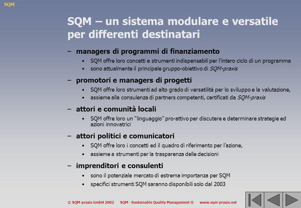 SQM © SQM-praxis GmbH 2002 SQM - Sustainable Quality Management ® www.sqm-praxis.net SQM – un sistema modulare e versatile per differenti destinatari –managers di programmi di finanziamento SQM offre loro concetti e strumenti indispensabili per lintero ciclo di un programma sono attualmente il principale gruppo-obiettivo di SQM-praxis –promotori e managers di progetti SQM offre loro strumenti ad alto grado di versatilità per lo sviluppo e la valutazione, assieme alla consulenza di partners competenti, certificati da SQM-praxis –attori e comunità locali SQM offre loro un linguaggio pro-attivo per discutere e determinare strategie ed azioni innovatrici –attori politici e comunicatori SQM offre loro i concetti ed il quadro di riferimento per lazione, assieme a strumenti per la trasparenza delle decisioni –imprenditori e consulenti sono il potenziale mercato di estrema importanza per SQM specifici strumenti SQM saranno disponibili solo dal 2003