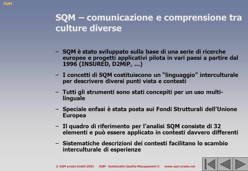 SQM © SQM-praxis GmbH 2002 SQM - Sustainable Quality Management ® www.sqm-praxis.net SQM – comunicazione e comprensione tra culture diverse –SQM è stato sviluppato sulla base di una serie di ricerche europee e progetti applicativi pilota in vari paesi a partire dal 1996 (INSURED, D2MiP, …) –I concetti di SQM costituiscono un linguaggio interculturale per descrivere diversi punti vista e contesti –Tutti gli strumenti sono stati concepiti per un uso multi- linguale –Speciale enfasi è stata posta sui Fondi Strutturali dellUnione Europea –Il quadro di riferimento per lanalisi SQM consiste di 32 elementi e può essere applicato in contesti davvero differenti –Sistematiche descrizioni dei contesti facilitano lo scambio interculturale di esperienze
