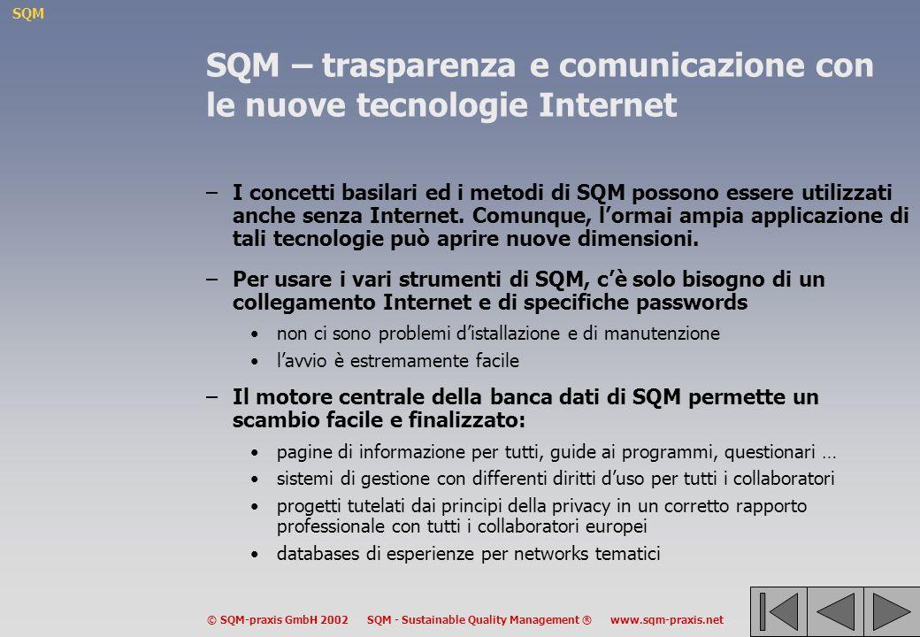 SQM © SQM-praxis GmbH 2002 SQM - Sustainable Quality Management ® www.sqm-praxis.net SQM – trasparenza e comunicazione con le nuove tecnologie Internet –I concetti basilari ed i metodi di SQM possono essere utilizzati anche senza Internet.