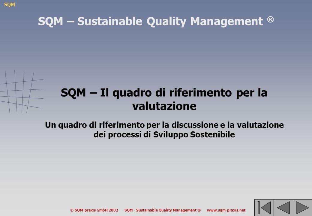 SQM © SQM-praxis GmbH 2002 SQM - Sustainable Quality Management ® www.sqm-praxis.net SQM – Sustainable Quality Management ® SQM – Il quadro di riferimento per la valutazione Un quadro di riferimento per la discussione e la valutazione dei processi di Sviluppo Sostenibile