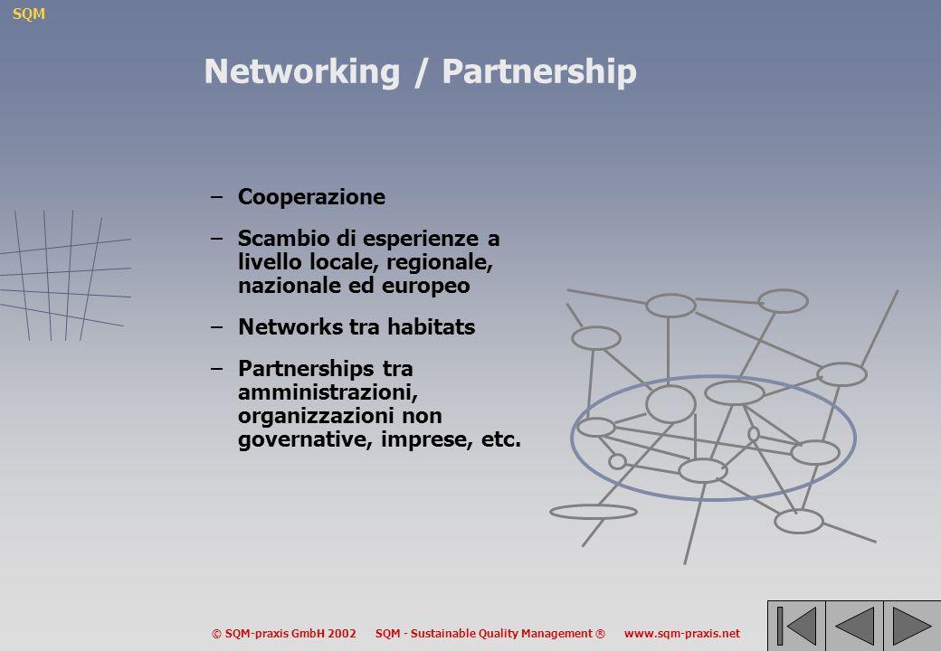 SQM © SQM-praxis GmbH 2002 SQM - Sustainable Quality Management ® www.sqm-praxis.net Networking / Partnership –Cooperazione –Scambio di esperienze a livello locale, regionale, nazionale ed europeo –Networks tra habitats –Partnerships tra amministrazioni, organizzazioni non governative, imprese, etc.