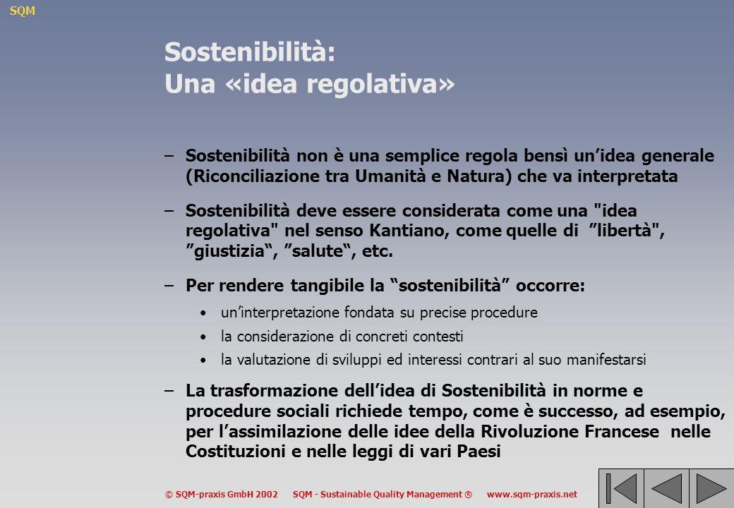 SQM © SQM-praxis GmbH 2002 SQM - Sustainable Quality Management ® www.sqm-praxis.net Sostenibilità: Una «idea regolativa» –Sostenibilità non è una semplice regola bensì unidea generale (Riconciliazione tra Umanità e Natura) che va interpretata –Sostenibilità deve essere considerata come una idea regolativa nel senso Kantiano, come quelle di libertà , giustizia, salute, etc.