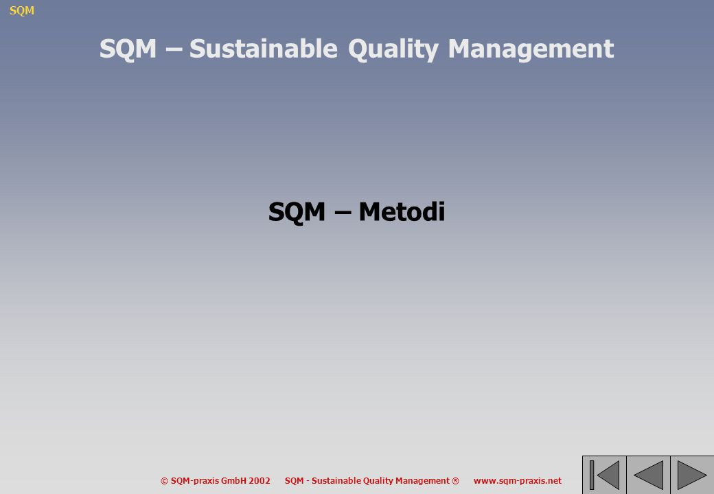SQM © SQM-praxis GmbH 2002 SQM - Sustainable Quality Management ® www.sqm-praxis.net SQM – Sustainable Quality Management SQM – Metodi