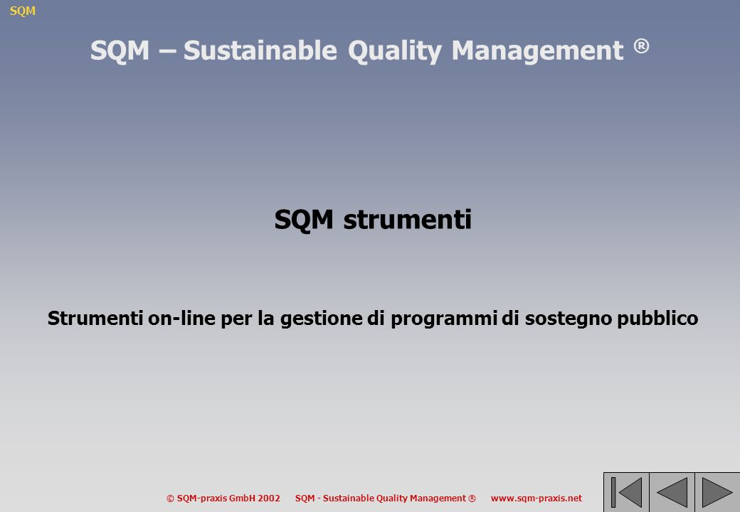 SQM © SQM-praxis GmbH 2002 SQM - Sustainable Quality Management ® www.sqm-praxis.net SQM – Sustainable Quality Management ® SQM strumenti Strumenti on-line per la gestione di programmi di sostegno pubblico