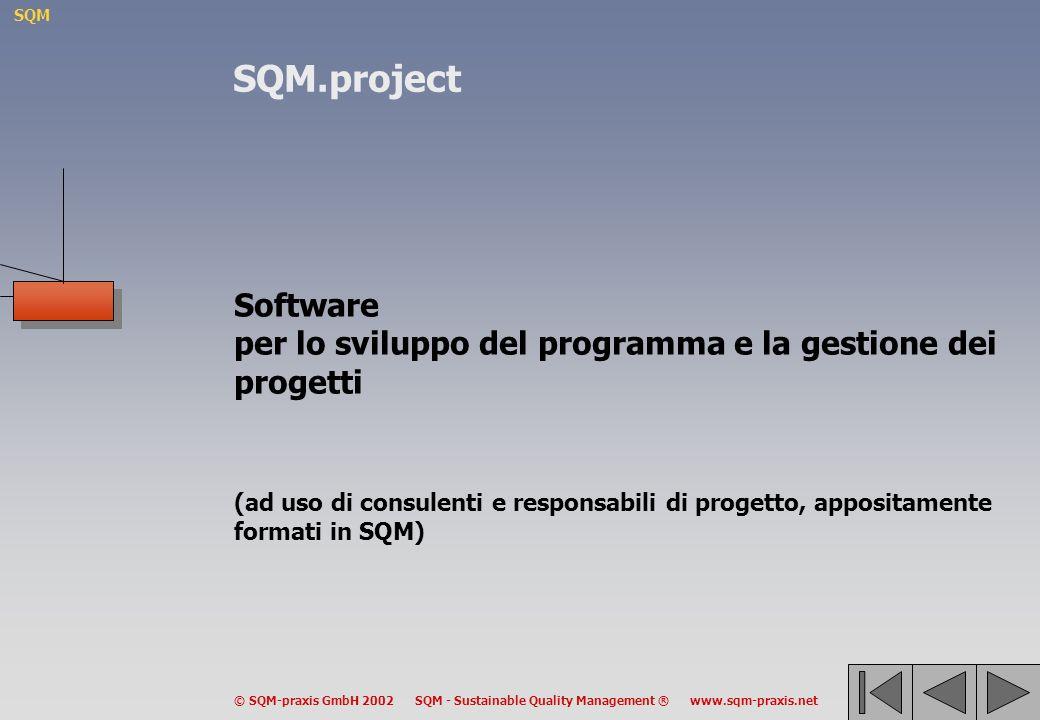 SQM © SQM-praxis GmbH 2002 SQM - Sustainable Quality Management ® www.sqm-praxis.net Software per lo sviluppo del programma e la gestione dei progetti (ad uso di consulenti e responsabili di progetto, appositamente formati in SQM) SQM.project