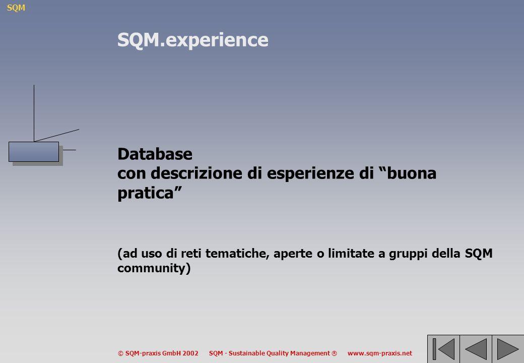 SQM © SQM-praxis GmbH 2002 SQM - Sustainable Quality Management ® www.sqm-praxis.net Database con descrizione di esperienze di buona pratica (ad uso di reti tematiche, aperte o limitate a gruppi della SQM community) SQM.experience