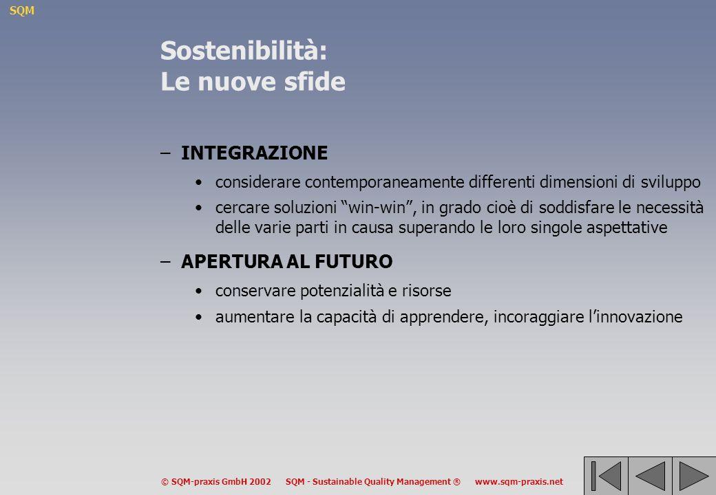 SQM © SQM-praxis GmbH 2002 SQM - Sustainable Quality Management ® www.sqm-praxis.net Sviluppo Sostenibile: Approccio Difensivo ed Approccio Costruttivo –Approccio difensivo la conservazione delle risorse e delle potenzialità è basato su domande elementari tende a punti di vista settoriali ed aggiuntivi –Approccio costruttivo dà prevalenza alla capacità di apprendere ed essere innovatrici/ori enfatizza limportanza di soluzioni win-win spinge ad attuare cambiamenti integrati e strutturali