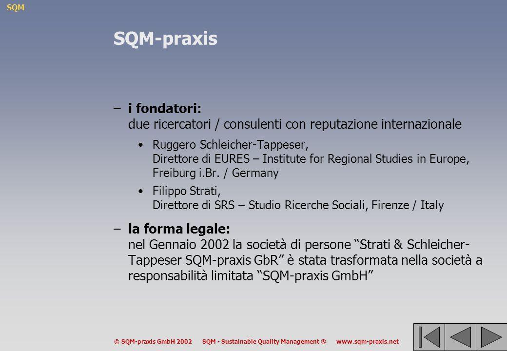 SQM © SQM-praxis GmbH 2002 SQM - Sustainable Quality Management ® www.sqm-praxis.net SQM-praxis –i fondatori: due ricercatori / consulenti con reputazione internazionale Ruggero Schleicher-Tappeser, Direttore di EURES – Institute for Regional Studies in Europe, Freiburg i.Br.