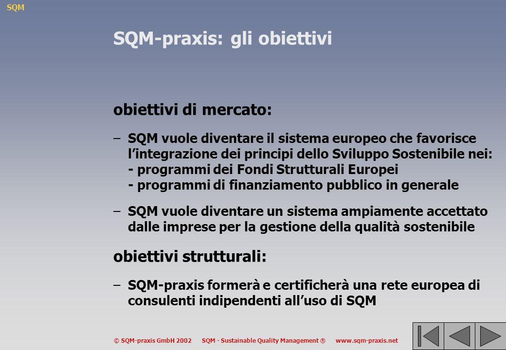 SQM © SQM-praxis GmbH 2002 SQM - Sustainable Quality Management ® www.sqm-praxis.net SQM-praxis: gli obiettivi obiettivi di mercato: –SQM vuole diventare il sistema europeo che favorisce lintegrazione dei principi dello Sviluppo Sostenibile nei: - programmi dei Fondi Strutturali Europei - programmi di finanziamento pubblico in generale –SQM vuole diventare un sistema ampiamente accettato dalle imprese per la gestione della qualità sostenibile obiettivi strutturali: –SQM-praxis formerà e certificherà una rete europea di consulenti indipendenti alluso di SQM