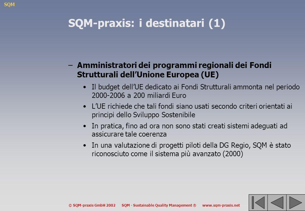 SQM © SQM-praxis GmbH 2002 SQM - Sustainable Quality Management ® www.sqm-praxis.net SQM-praxis: i destinatari (1) –Amministratori dei programmi regionali dei Fondi Strutturali dellUnione Europea (UE) Il budget dellUE dedicato ai Fondi Strutturali ammonta nel periodo 2000-2006 a 200 miliardi Euro LUE richiede che tali fondi siano usati secondo criteri orientati ai principi dello Sviluppo Sostenibile In pratica, fino ad ora non sono stati creati sistemi adeguati ad assicurare tale coerenza In una valutazione di progetti piloti della DG Regio, SQM è stato riconosciuto come il sistema più avanzato (2000)