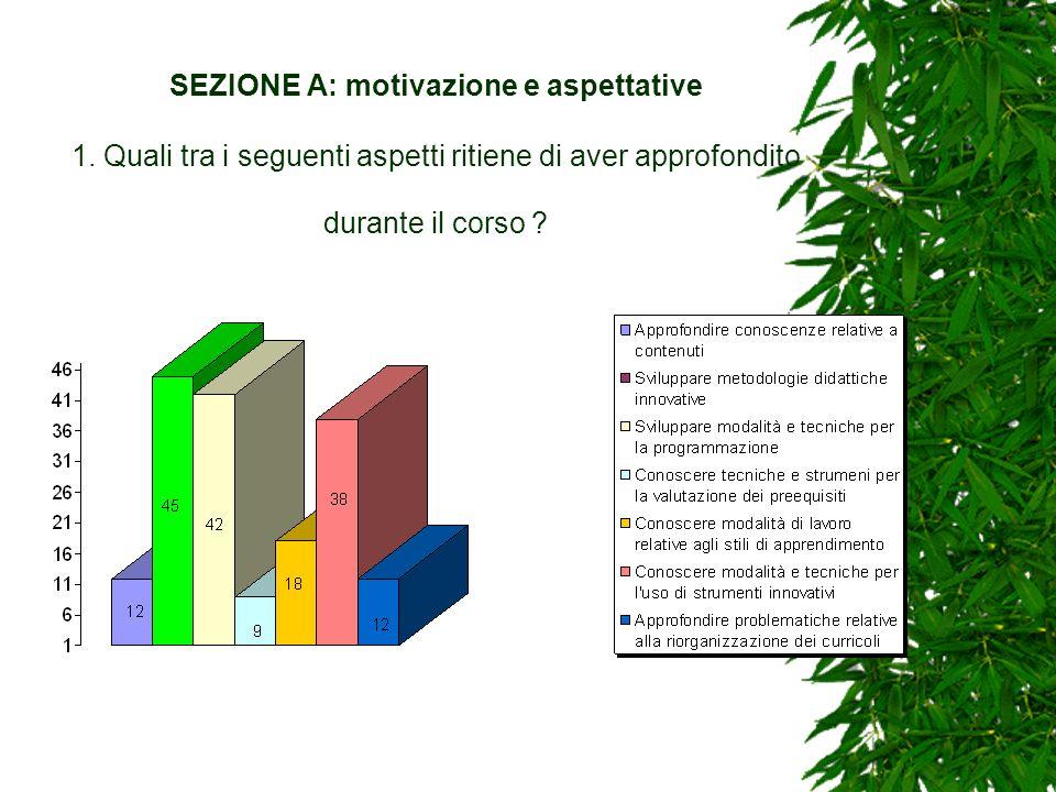 SEZIONE A: motivazione e aspettative 1. Quali tra i seguenti aspetti ritiene di aver approfondito durante il corso ?