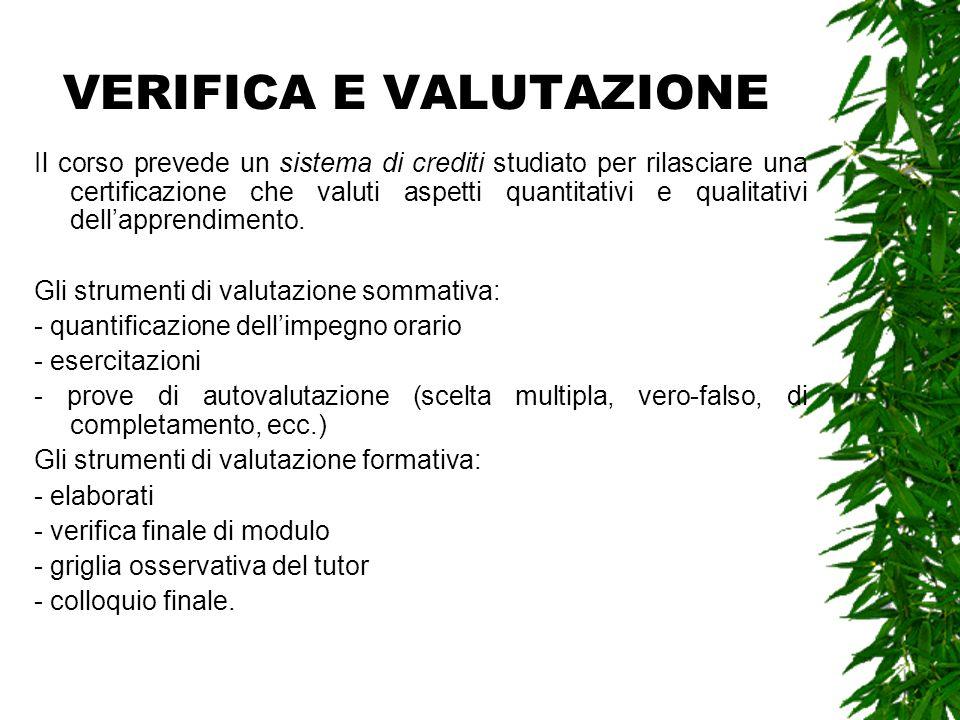 VERIFICA E VALUTAZIONE Il corso prevede un sistema di crediti studiato per rilasciare una certificazione che valuti aspetti quantitativi e qualitativi