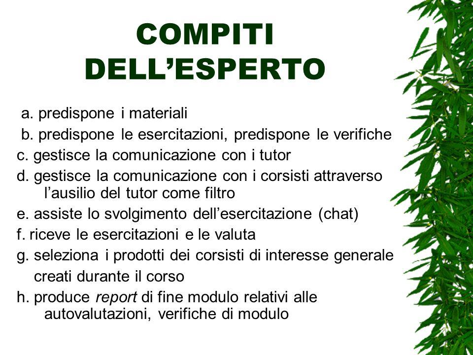COMPITI DELLESPERTO a. predispone i materiali b. predispone le esercitazioni, predispone le verifiche c. gestisce la comunicazione con i tutor d. gest
